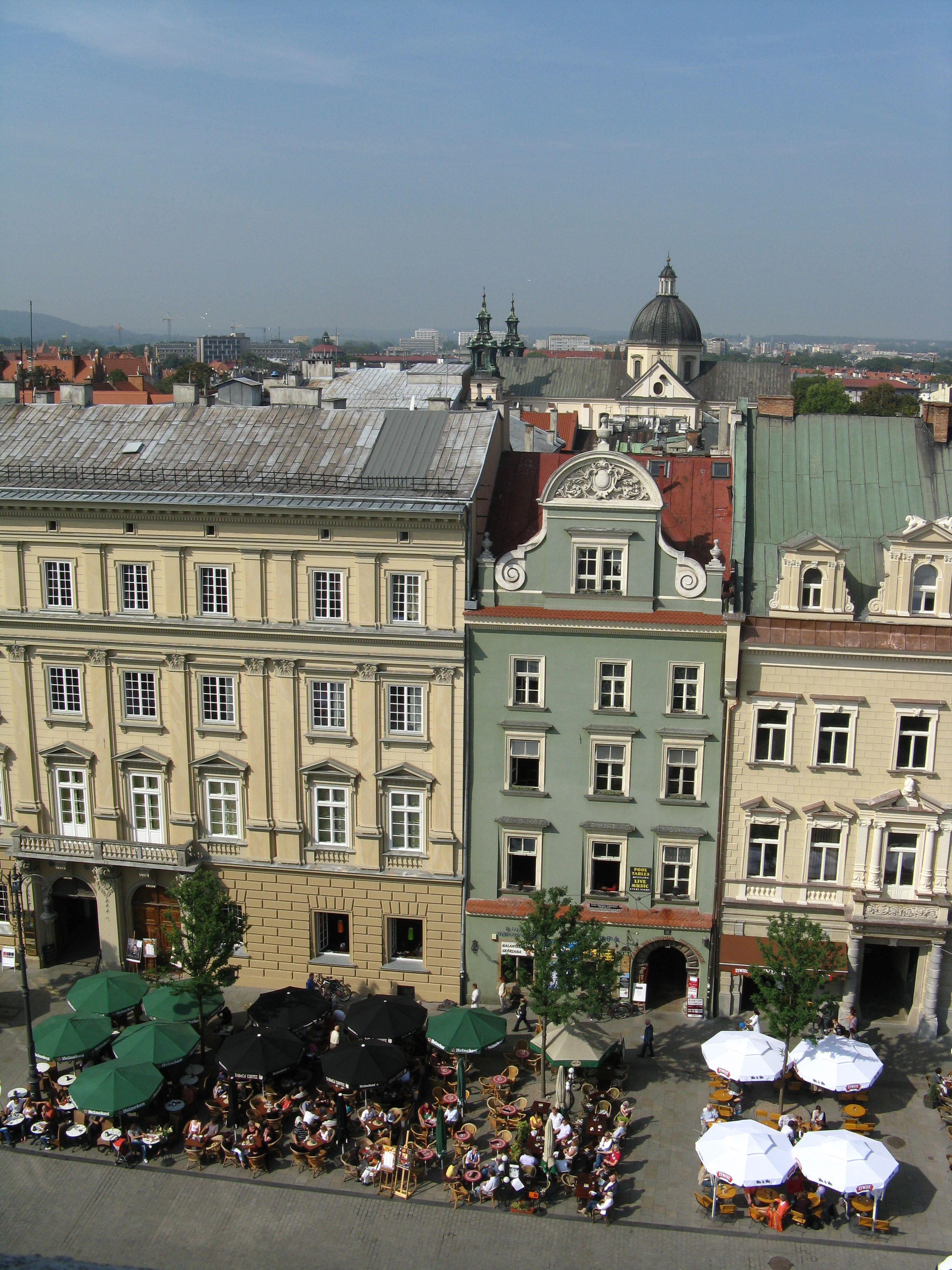 Rynek Glowny as viewed from the top of the old town hall's tower