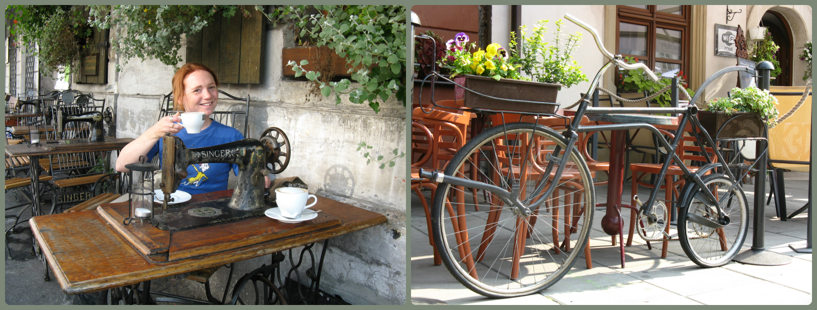 Old singer sewing machines incorporated into the cafe tables and bicycles incorporated into the railings