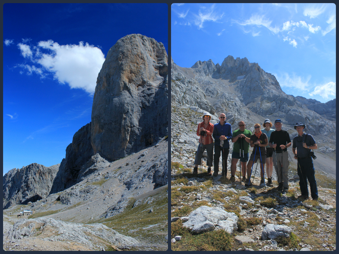 Naranjo de Bulnes and the refuge down below, and a few of the members of our group with our excellent guide, Juan