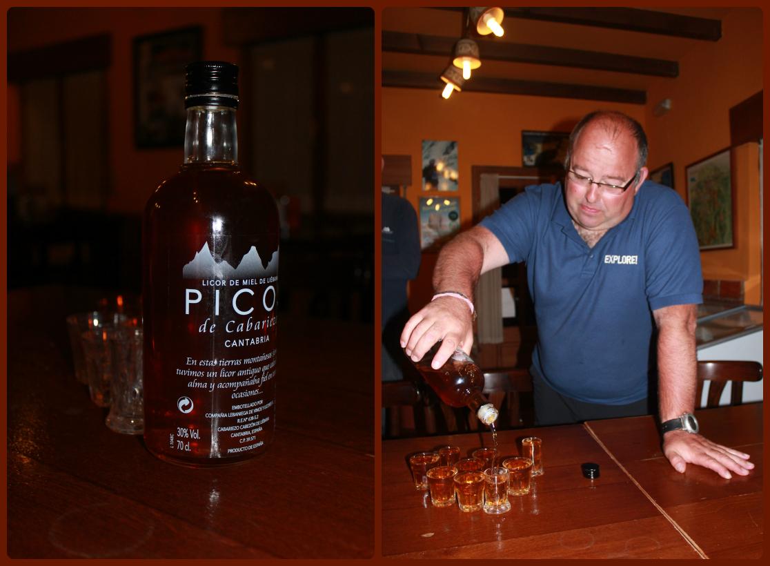 Juan pouring the Picos liqueur...Salud!