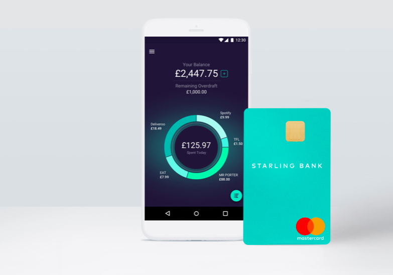 Photo showing a screenshot of the Starling app alongside the bank card