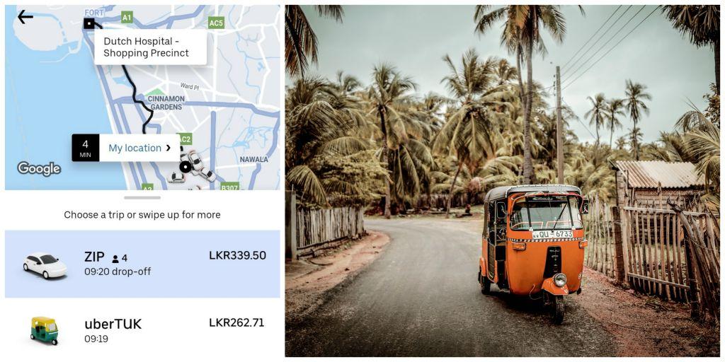 Screenshot of Uber app and a photo of a tuk-tuk in Sri Lanka